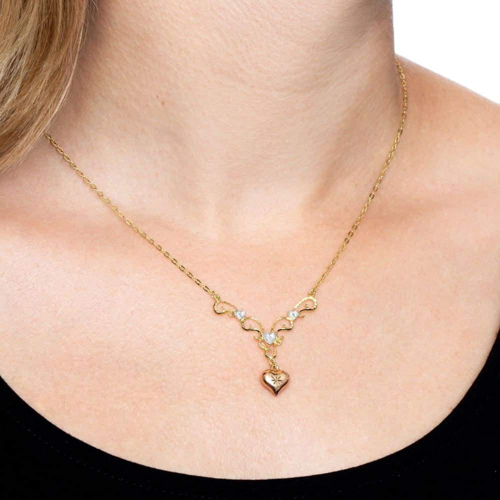 Heart Garland Drop Necklace with Diamond in 18K Gold-Plated Sterling Silver