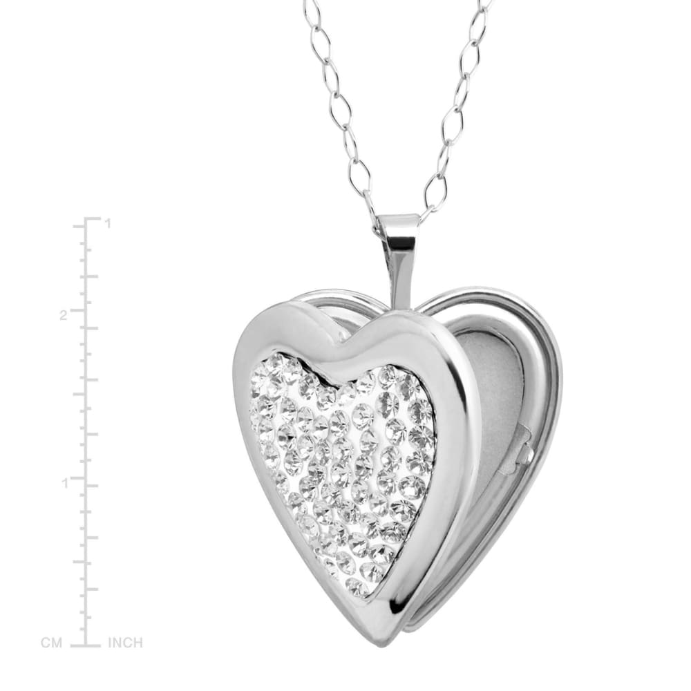 Heart Locket Pendant with Crystals in Sterling Silver 18