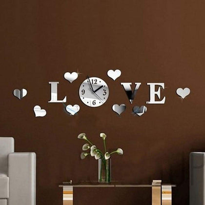 Heart & Love Pattern DIY Luxury Wall Art Acrylic Clock Mirror Stickers for Home Decoration Silver