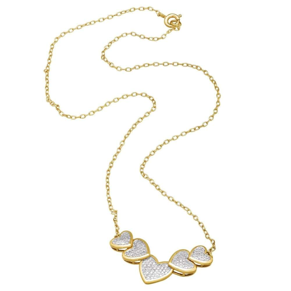 Heart Necklace with Diamond in 14K Yellow Gold Flashed & Silver-Plated Brass