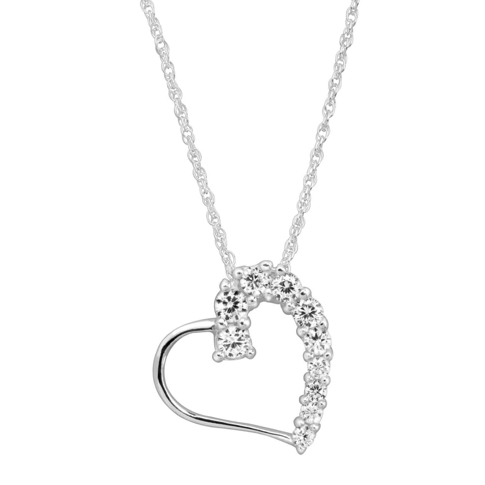 Heart Pendant & Stud Earrings Set with Cubic Zirconia in Sterling Silver