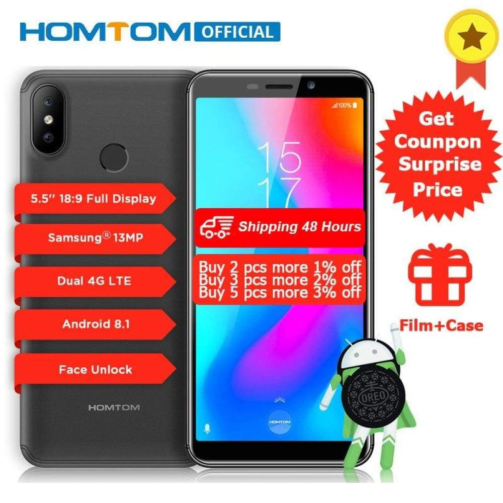HOMTOM C2 5.5 Android 8.1 2GB+16GB ROM Fast Charge Mobile Phone Face ID MTK6739 Quad Core 13MP Dual Cams OTA 4G LTE Smartphone