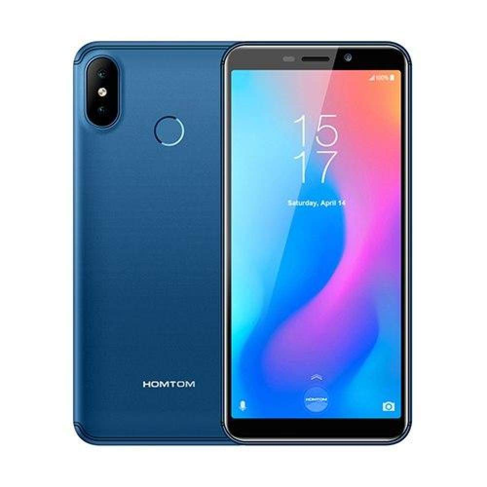 HOMTOM C2 5.5 Android 8.1 2GB+16GB ROM Fast Charge Mobile Phone Face ID MTK6739 Quad Core 13MP Dual Cams OTA 4G LTE Smartphone - Blue