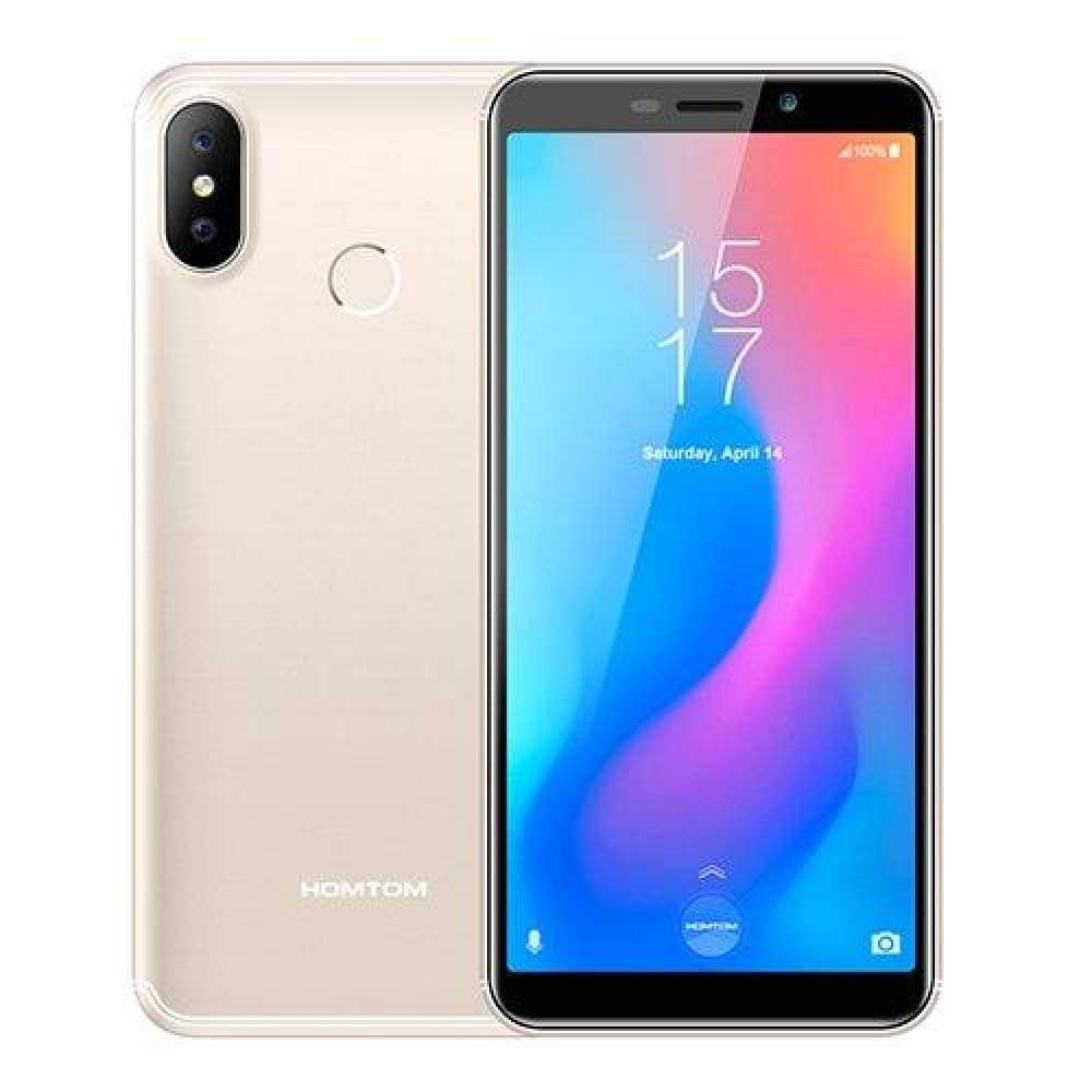 HOMTOM C2 5.5 Android 8.1 2GB+16GB ROM Fast Charge Mobile Phone Face ID MTK6739 Quad Core 13MP Dual Cams OTA 4G LTE Smartphone - Gold