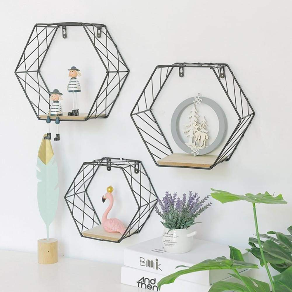 Iron Hexagonal Grid Wall Shelf Combination Hanging Geometric Figure