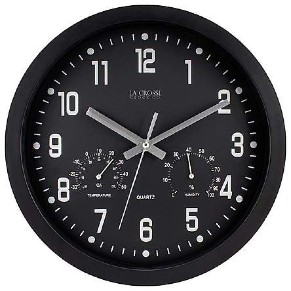 La Crosse Clock 404-2631 12 Inch Round Black In/Out Analog Wall with Temperature & Humidity