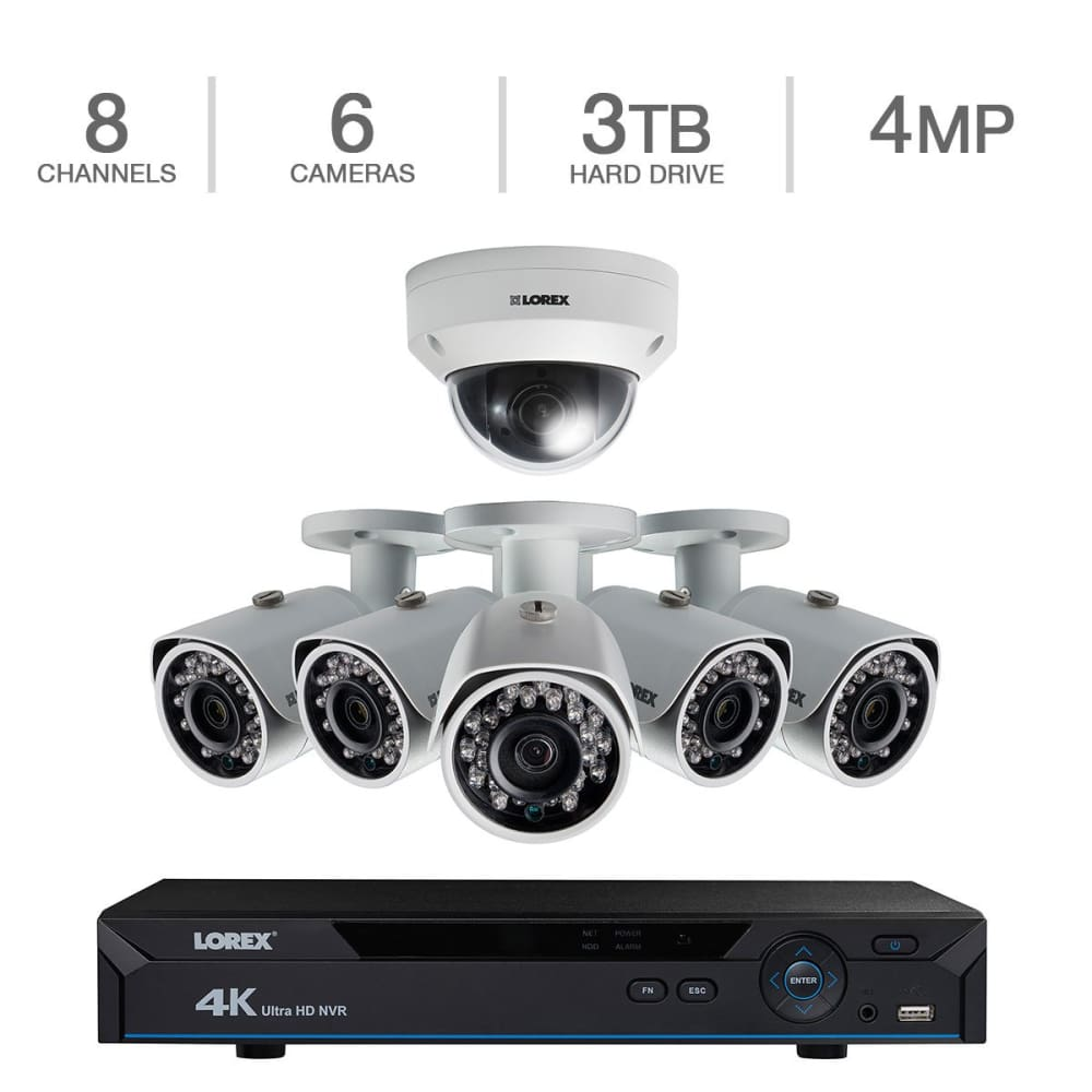 Lorex 8 Channel 4K Ready NVR Security System with 6 Cameras and Color Night Vision.Lorex Vision.