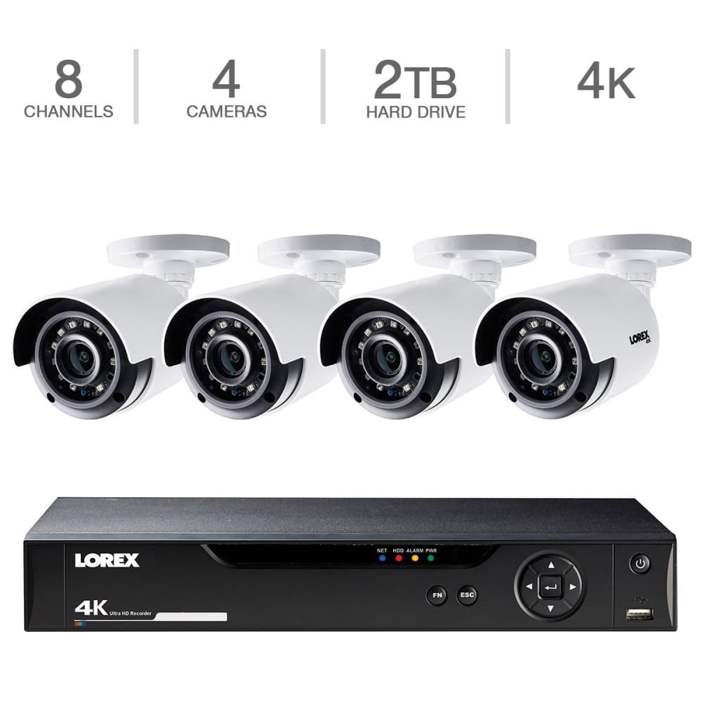 Lorex 8CH 4K DVR 2TB 4 UHD Bullet Camera Security SystemLorex System