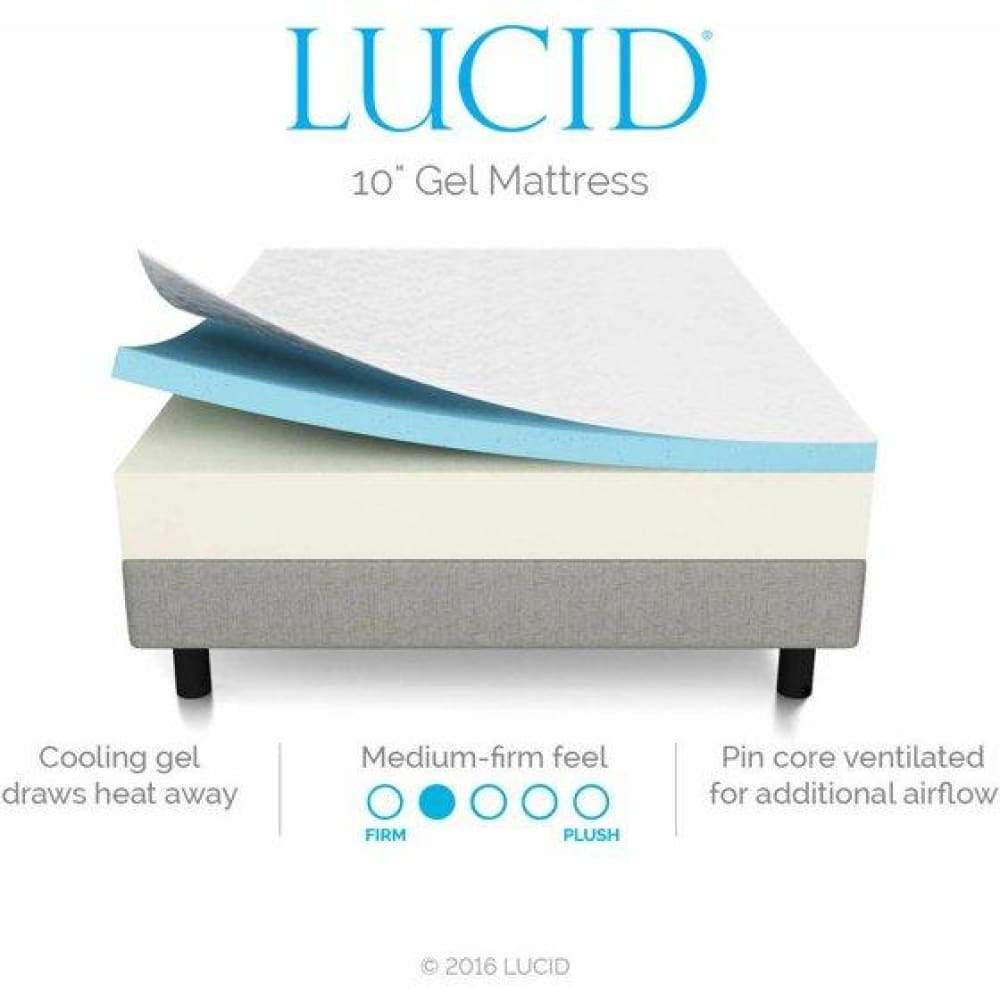 Lucid 10 Dual-Layered Gel Memory Foam Mattress Multiple Sizes