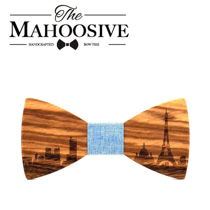 MAHOOSIVE Wooden bow tie Gravata Pairs City Skyline Wedding Groom Gift Butterfly For Mens Suit Shirt Necktie Jewerly Accessory