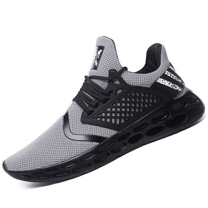 Men Hollow Sneakers EVA Insole Striped Shoes Breathable Air Mesh Casual