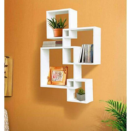 Modern Wooden Wall Squares Shelf With 2 Led Candles Home Office Stylish Decor