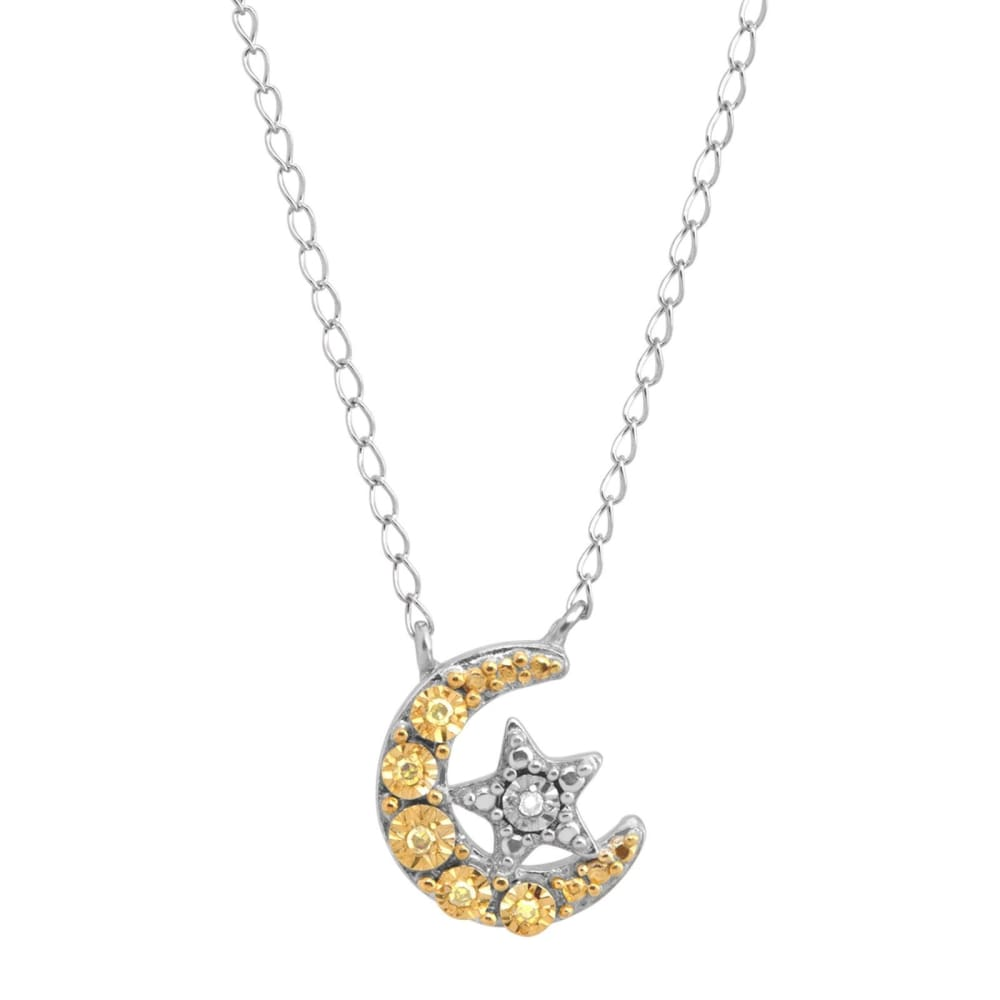 Moon & Star Necklace with Diamonds in Sterling Silver Gold Plate 17