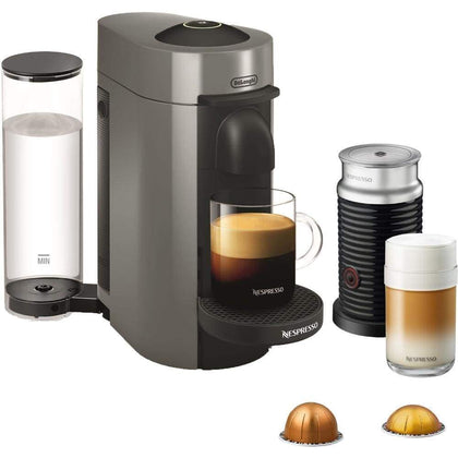 Nespresso VertuoPlus Coffee and Espresso Maker Bundle with Aeroccino Milk Frother by DeLonghi Grey