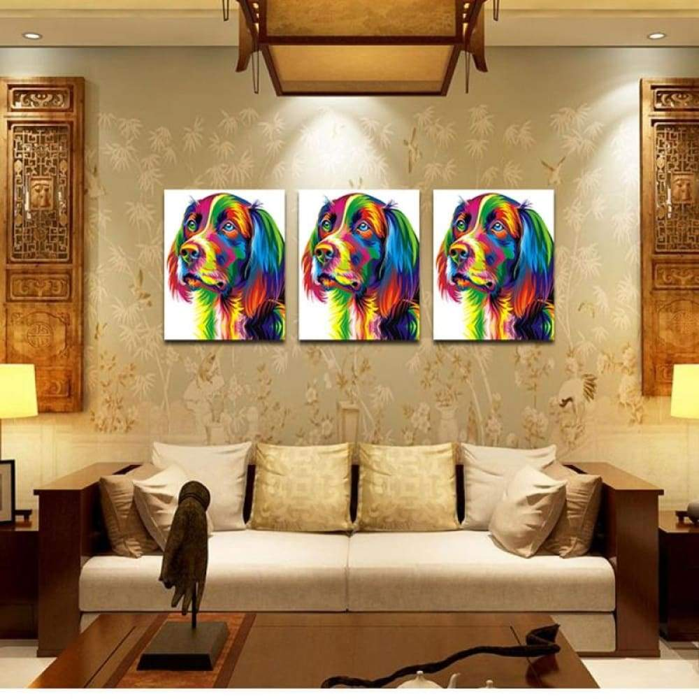 Neutral Colorful Animals of Dog Oil Painting Spray Size M