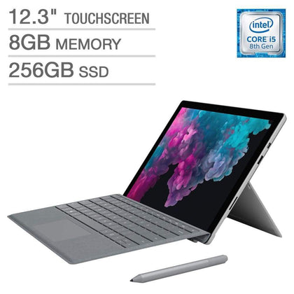New Microsoft Surface Pro 6 Bundle -Intel Core i5 - 2736 x 1824 Display- Platinum Type Cover