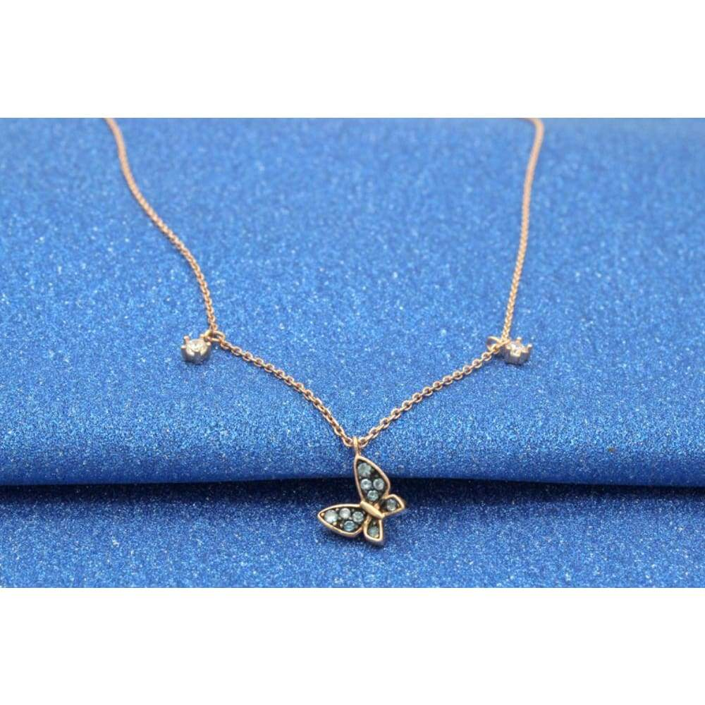 Newest Popular Rose Gold Plated Necklace Zircon Butterfly 925 Sterling Silver Pendant