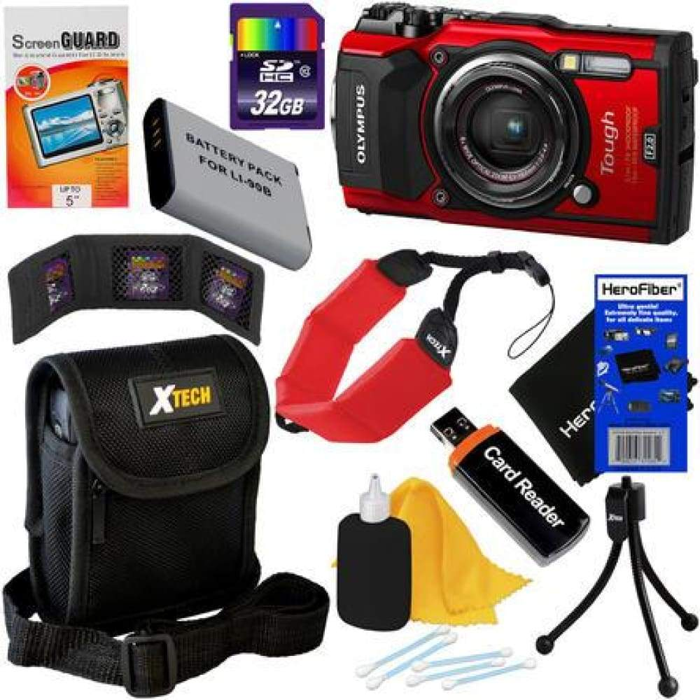Olympus Tough TG-5 Water Shock Freeze & Crushproof Wi-Fi Digital Camera (Red) + Battery 9pc 32GB Accessory Kit w/HeroFiber