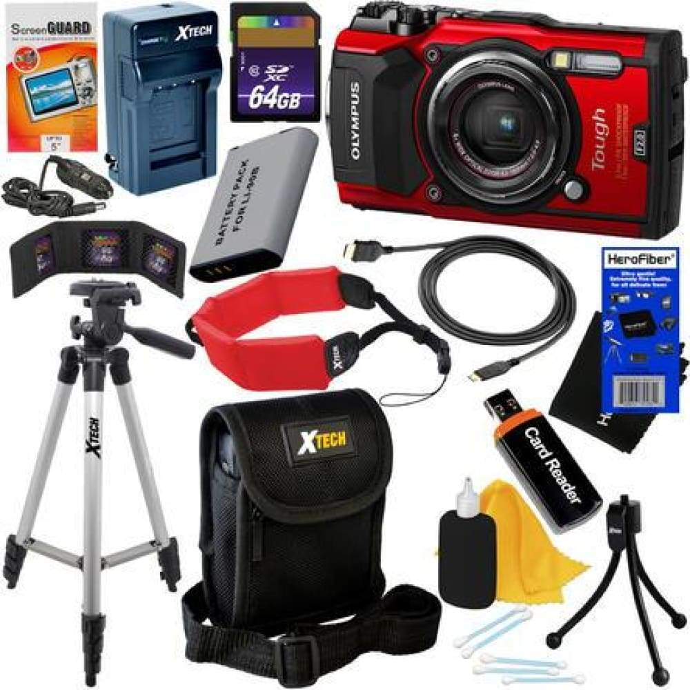 Olympus Tough TG-5 Water Shock Freeze & Crushproof Wi-Fi Digital Camera (Red) + Battery Charger 11pc 32GB Deluxe Kit