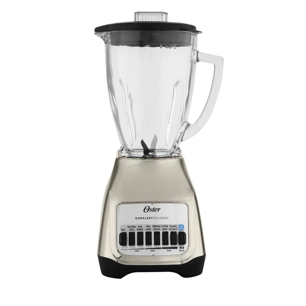Oster Classic Series Blender PLUS Food Chopper Nickel Plated with Glass Jar (BLSTSG-CFP-000)
