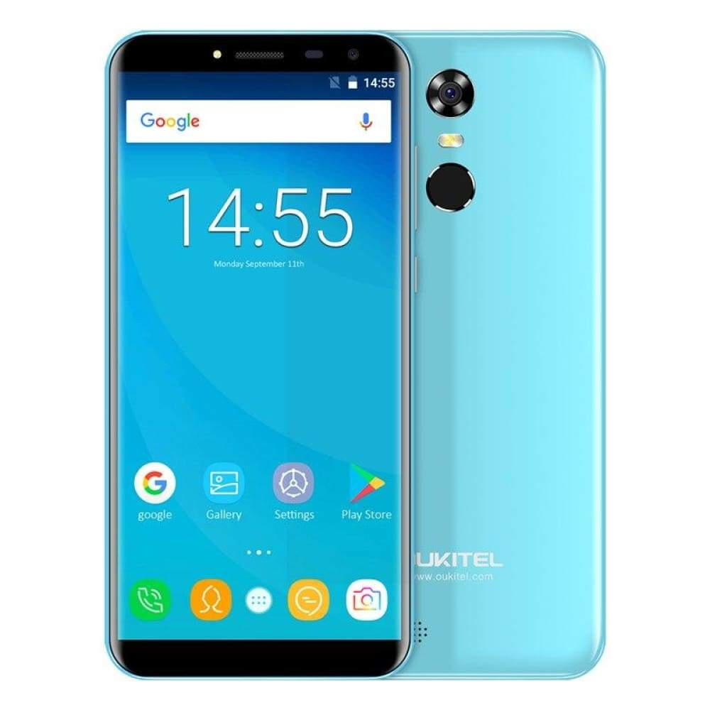 Oukitel C8 5.5 18:9 Infinity Display Android 7.0 MTK6580A Quad Core Smartphone 2G RAM 16G ROM 3000mAh Fingerprint Mobile Phone - Blue / Add