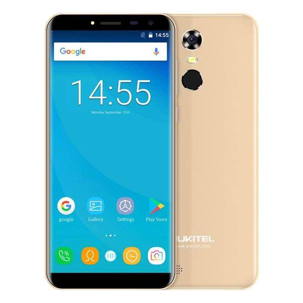 Oukitel C8 5.5 18:9 Infinity Display Android 7.0 MTK6580A Quad Core Smartphone 2G RAM 16G ROM 3000mAh Fingerprint Mobile Phone - Gold / Add