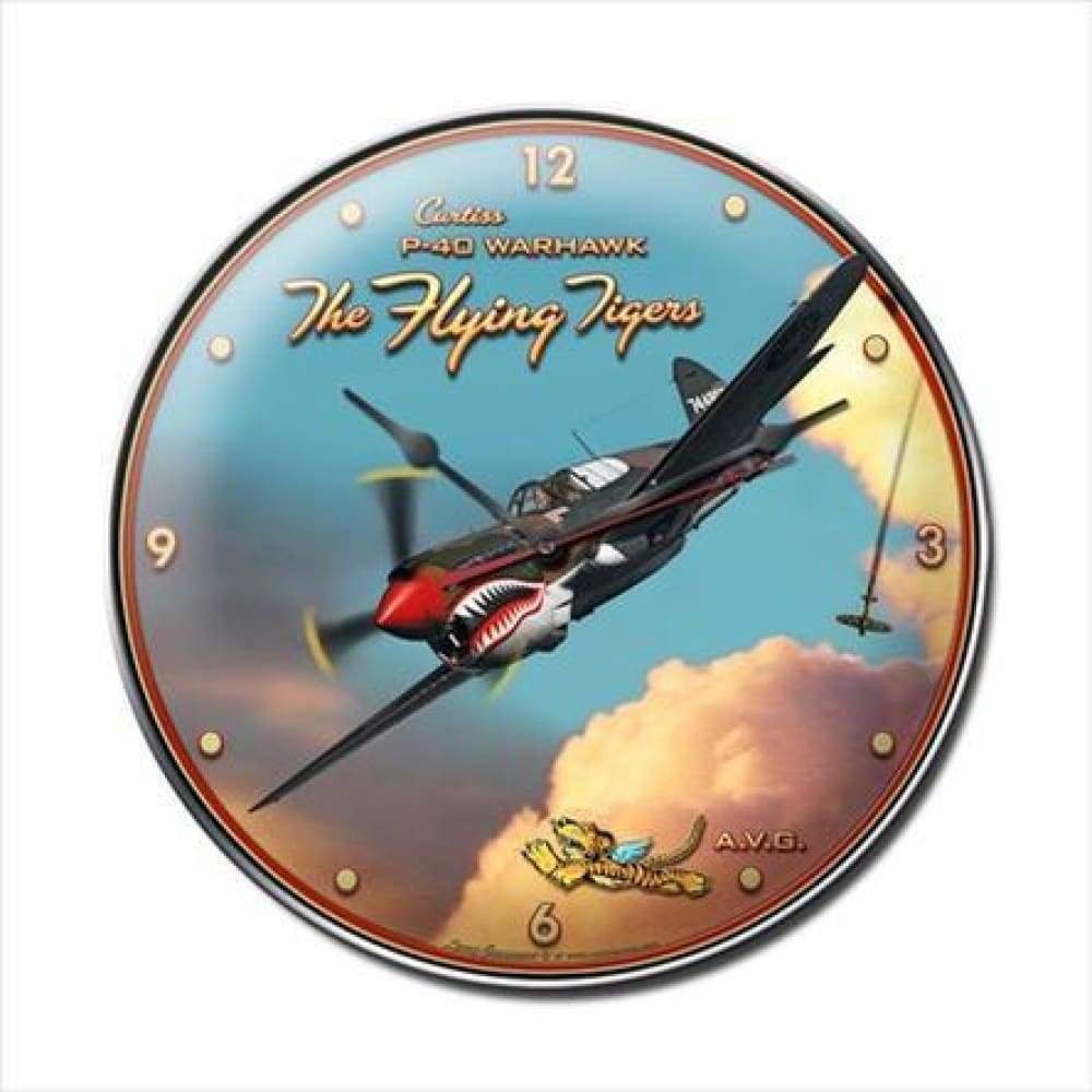 Past Time Signs LG210 Flying Tiger Aviation Clock
