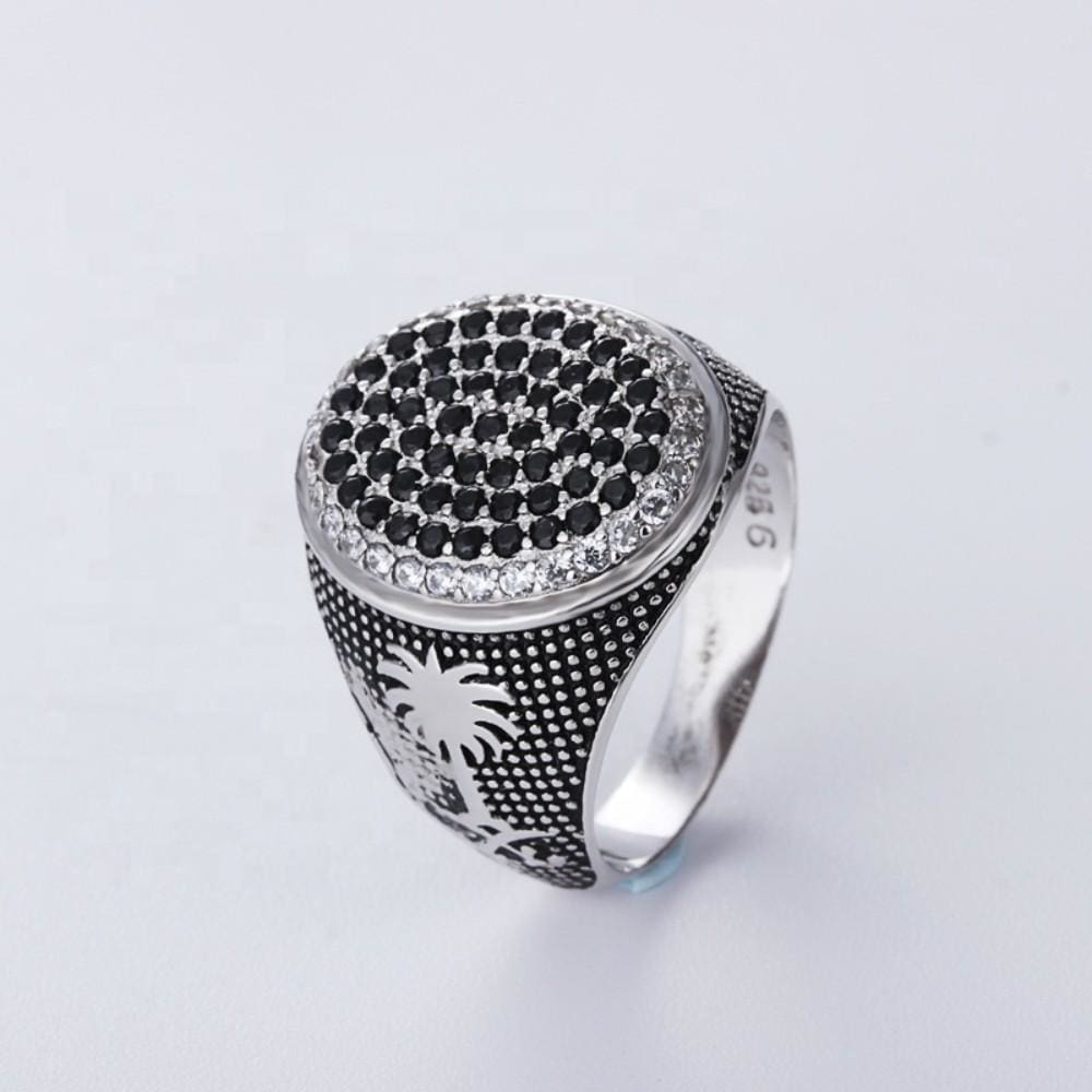 Platinum Plating CZ Diamond 925 Silver Ring Men