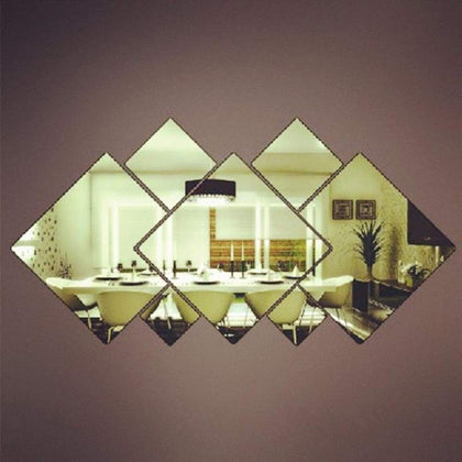 Removable Square Mirror Wall Sticker Creative Housing Decoration Silver