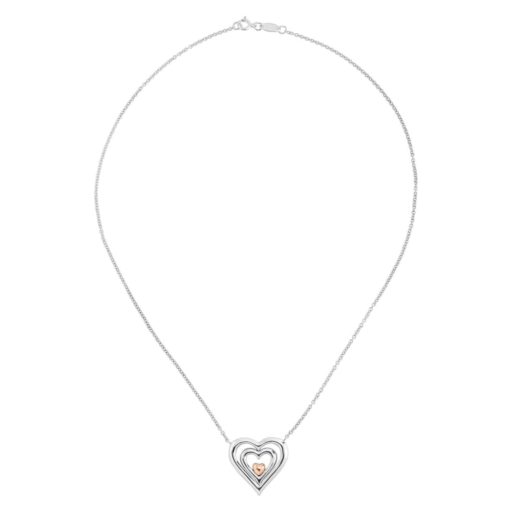 Reversible Heart Necklace With Diamonds in Sterling Silver & 14K Rose Gold