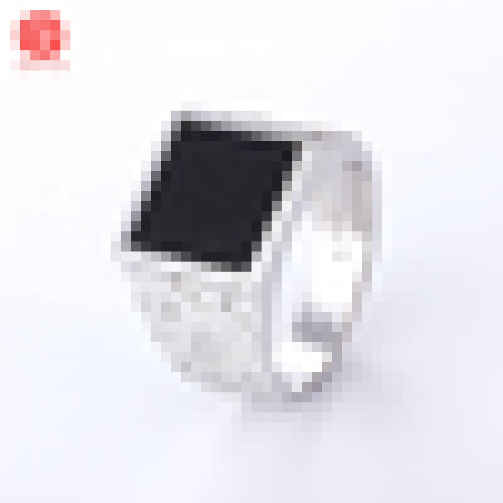Rhodium Finger Ring Factory Supply 925 Silver Square Tideway