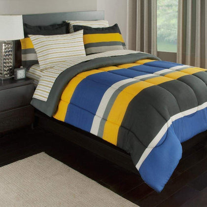 Rugby Stripe Reversible Bed-In-A-Bag Bedding Set