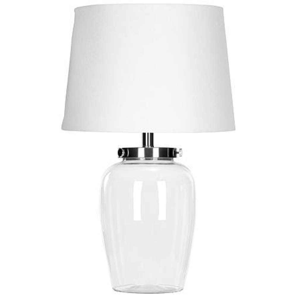 Safavieh Clear Glass Table Lamp with White Linen Shade