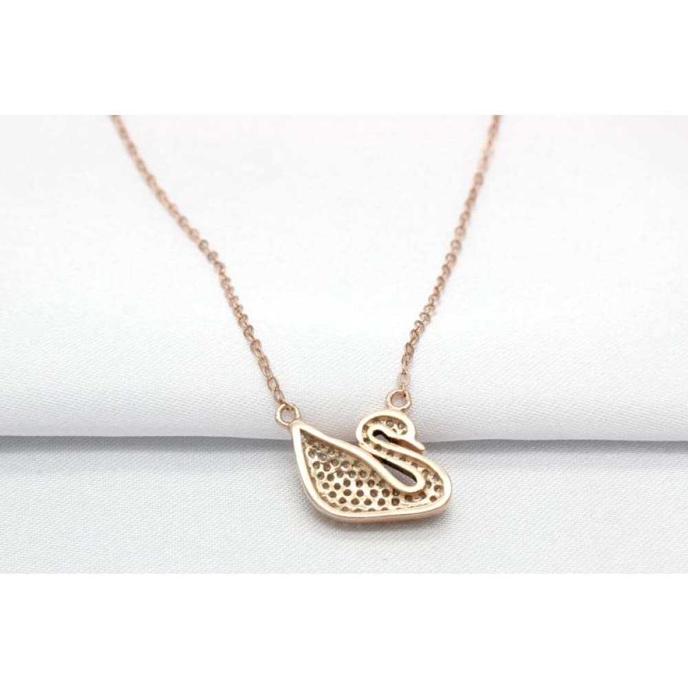 Silver Jewelry Rose Gold Plated Full Crystal Swan Pendant Necklace