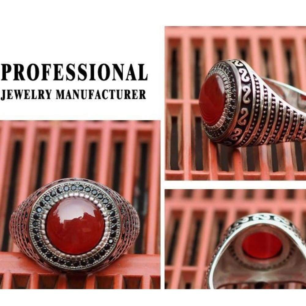 Silver Ring Red Agate Mens Rings View Designs for Men