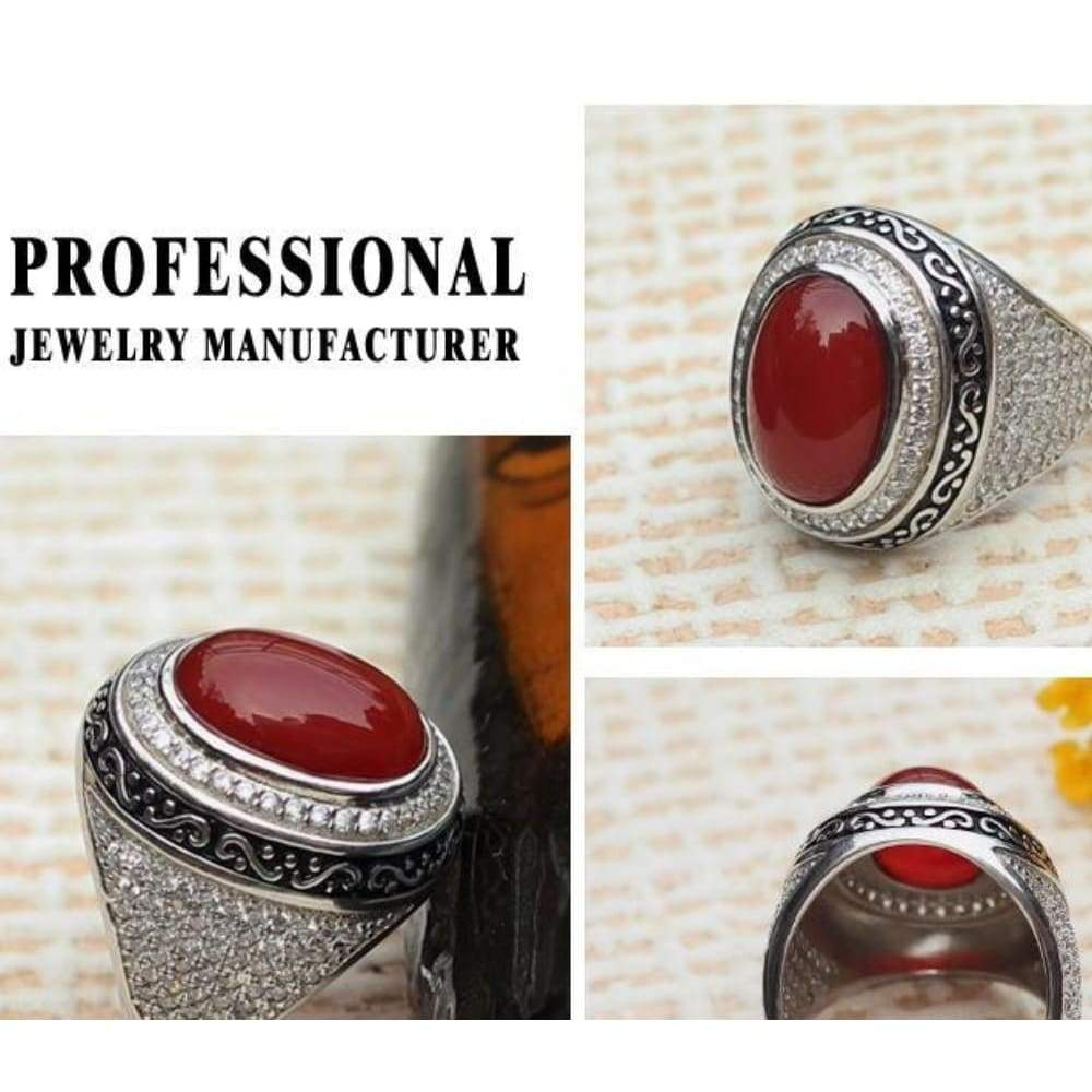 Silver Rings for Muslim Men with Natural Stones CZ Fashion Ring Texture Engraved