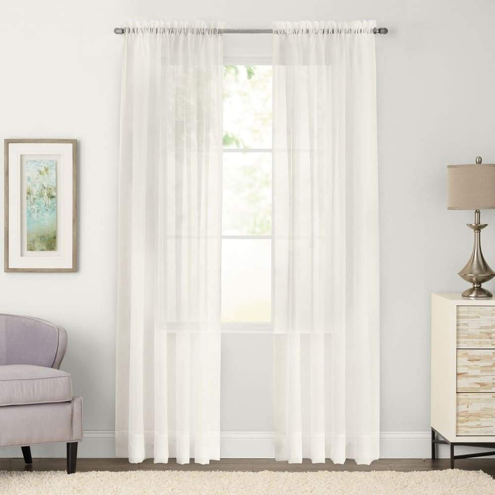 SONOMA Goods for Life 2-pack Sheer Voile Window Curtains - Ivory / 59X63