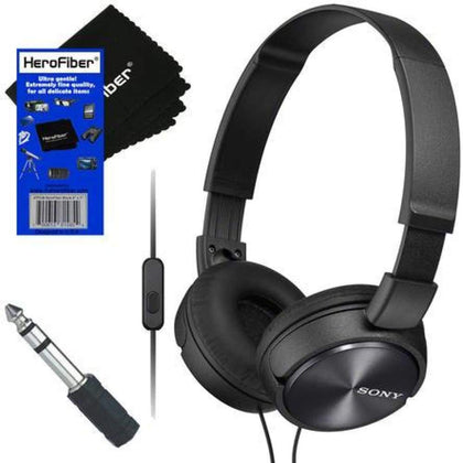 Sony MDR-ZX310AP ZX Series Headband Foldable Stereo Headset with Mic (Black) + 3.5mm to ¼ Headphone Adapter & HeroFiber