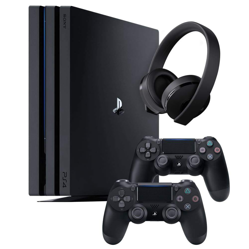 Sony PS4 Pro 1TB Bundle with a Wireless Headset & 2 Black Dualshock 4 ControllersSony Controllers