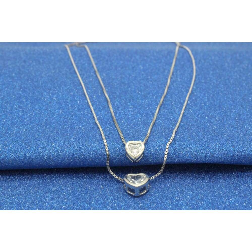 Sterling Silver Jewelry Double Layered Hearts Platinum Plated Pendant Necklace