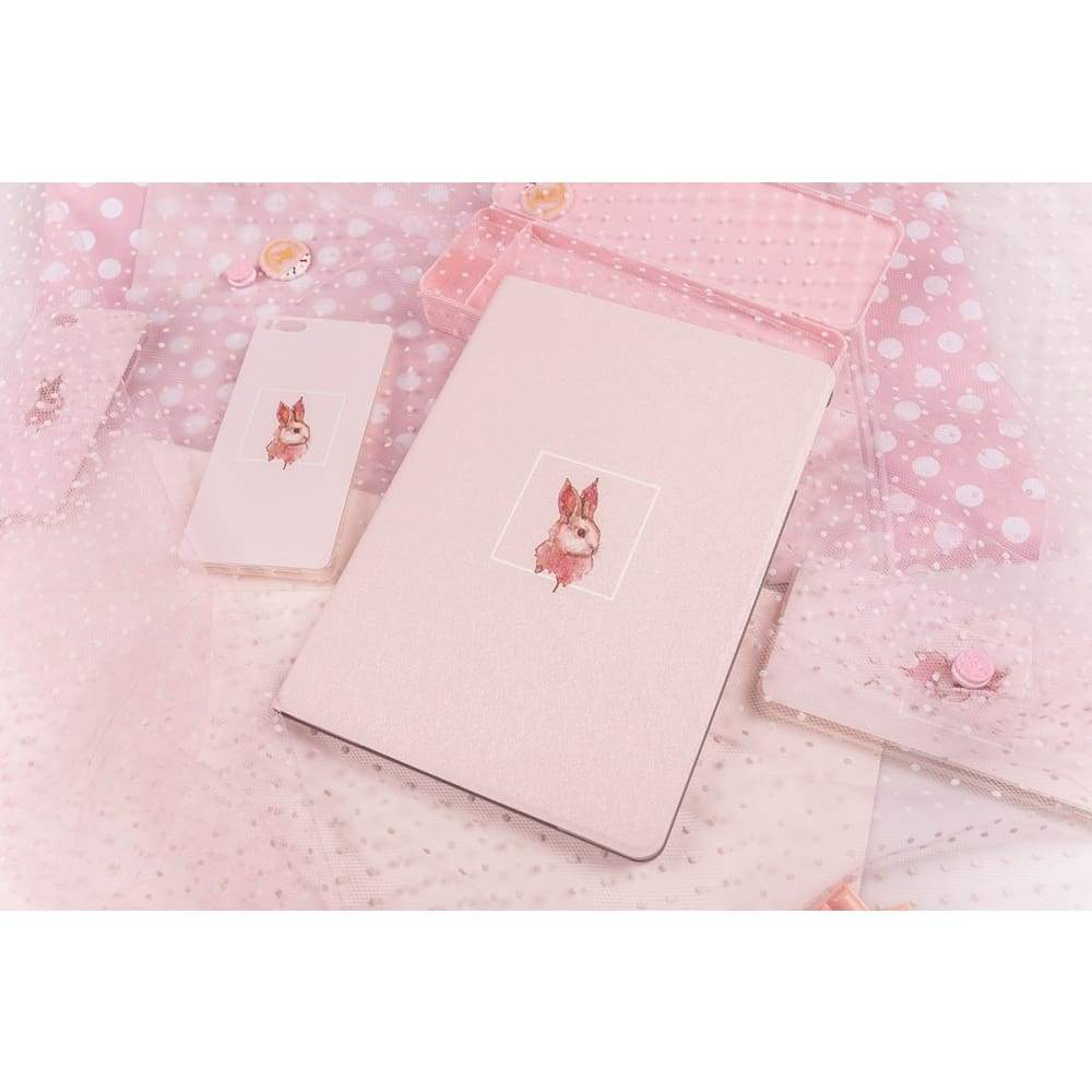 Tablet Leather Case iPad Stand Simple Art - Pro 12.9 / Pink Rabbit
