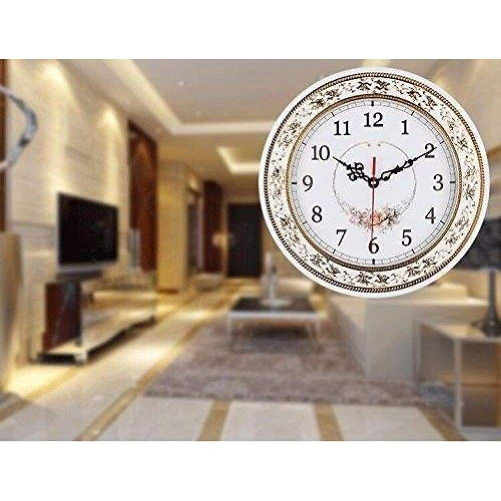 Tebery Silent Modern Quartz Flower Design Decorative Wall Clock Non-ticking