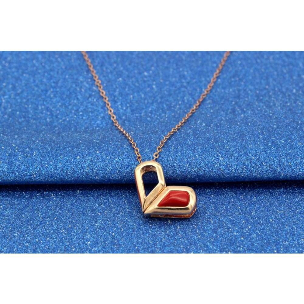 Twisted Clip Rose Gold Plated Pendant Transformable Heart Necklace