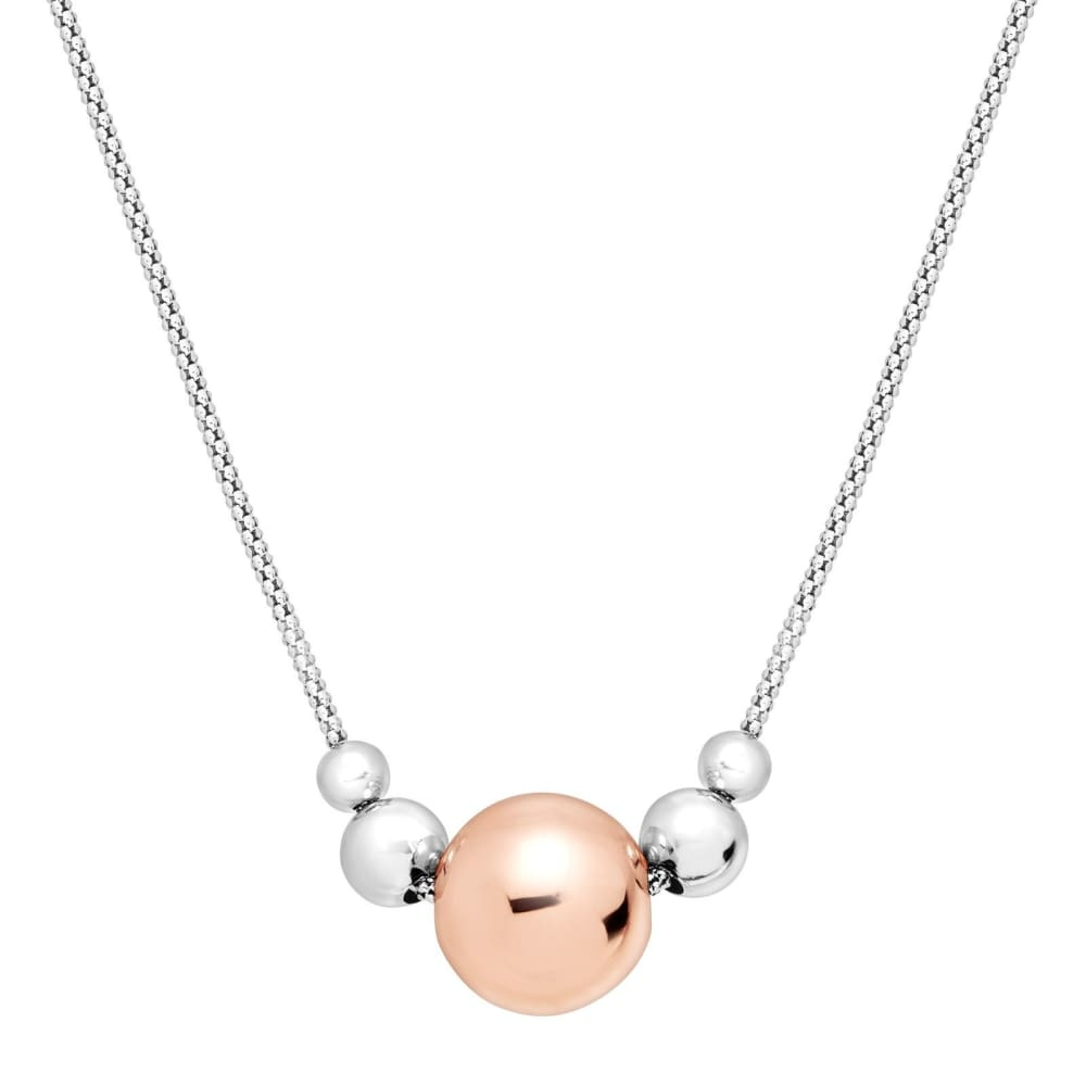 Two-Tone Graduated Bead Necklace in 14K Rose Gold-Plated Sterling Silver