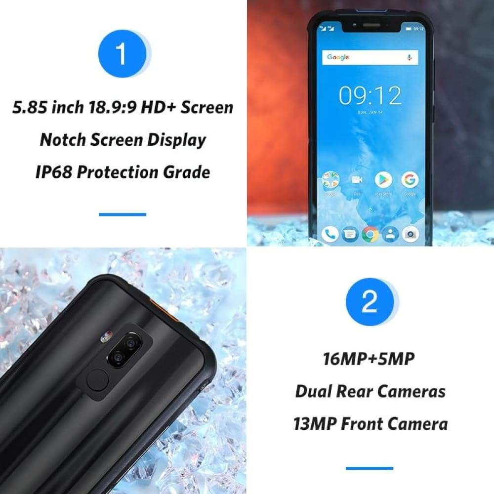 Ulefone Armor 5 IP68 Waterproof Mobile Phone Android 8.1 5.85 HD+ Octa Core 4GB+64GB NFC Face ID Wireless Charge 4G Smartphone