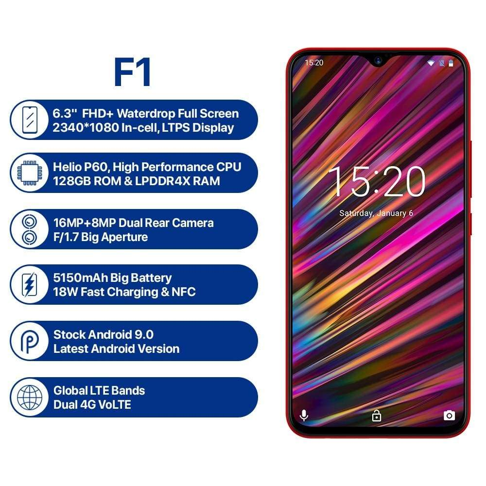 UMIDIGI F1 Android 9.0 6.3 FHD+ 128GB ROM 4GB RAM Helio P60 5150mAh Big Battery 18W Fast Charge Smartphone NFC 16MP+8MP Phone