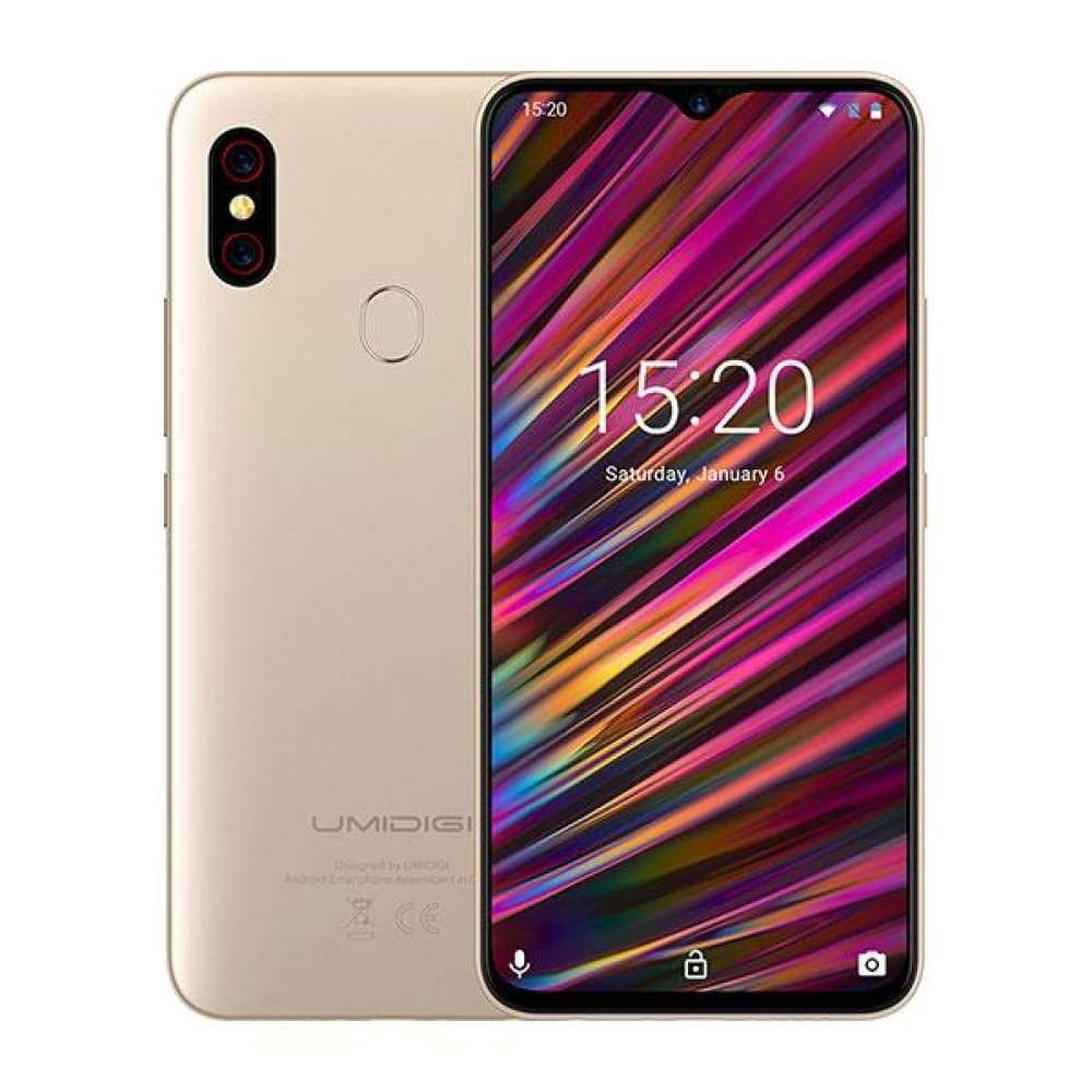 UMIDIGI F1 Android 9.0 6.3 FHD+ 128GB ROM 4GB RAM Helio P60 5150mAh Big Battery 18W Fast Charge Smartphone NFC 16MP+8MP Phone - Gold /