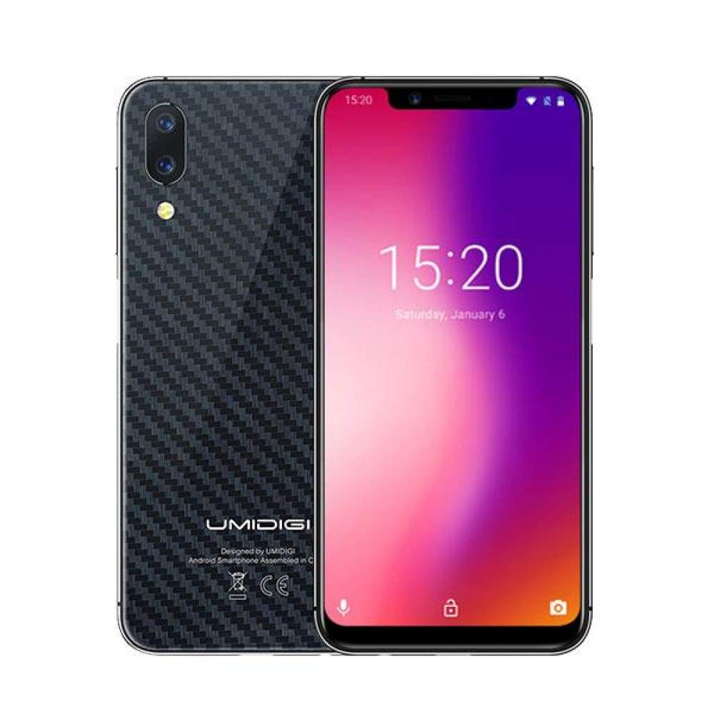 UMIDIGI One Pro Global Band 5.9 Android 8.1 mobile phone wireless charge 4GB 64GB P23 Octa Core smartphone 12MP+5MP Dual 4G NFC - Carbon