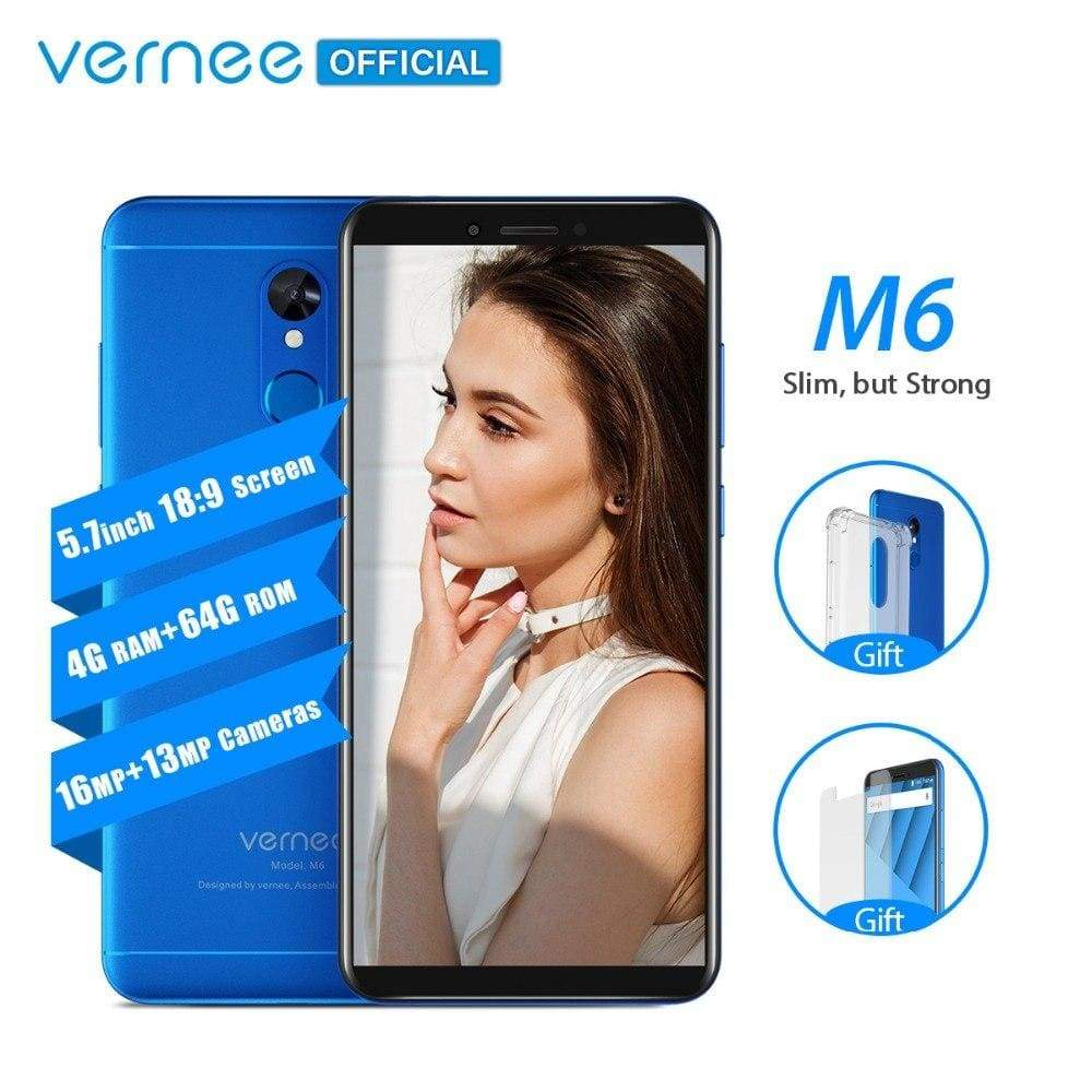 Vernee M6 4GB 64GB Smartphone Ultra 5.7inch cellphone 4G LTE Android 7.0 Phone with 13MP Selfie Camera 16MP Cameras Fingerprint