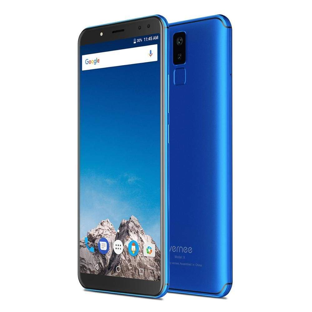 Vernee X 6.0 Inch 6200mAh 18:9 FHD Smartphone 4G LTE Cell Phone Face ID 4GB RAM 64GB ROM MTK6763 Octa Core 16.0 MP Mobile - Blue With Gift